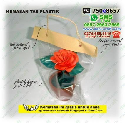 souvenir bunga pot kemasan tas plastik