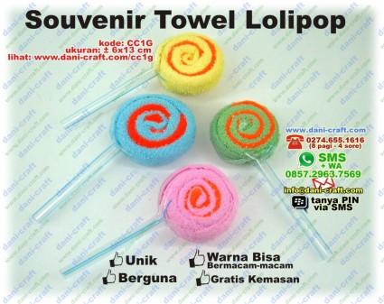 souvenir towel lolipop permen