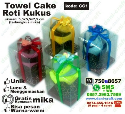 souvenir towell cake murah kemasan mika