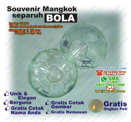 mangkok separuh bola kaca souvenir