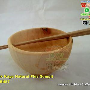 Mangkok Kayu Natural Plus Sumpit